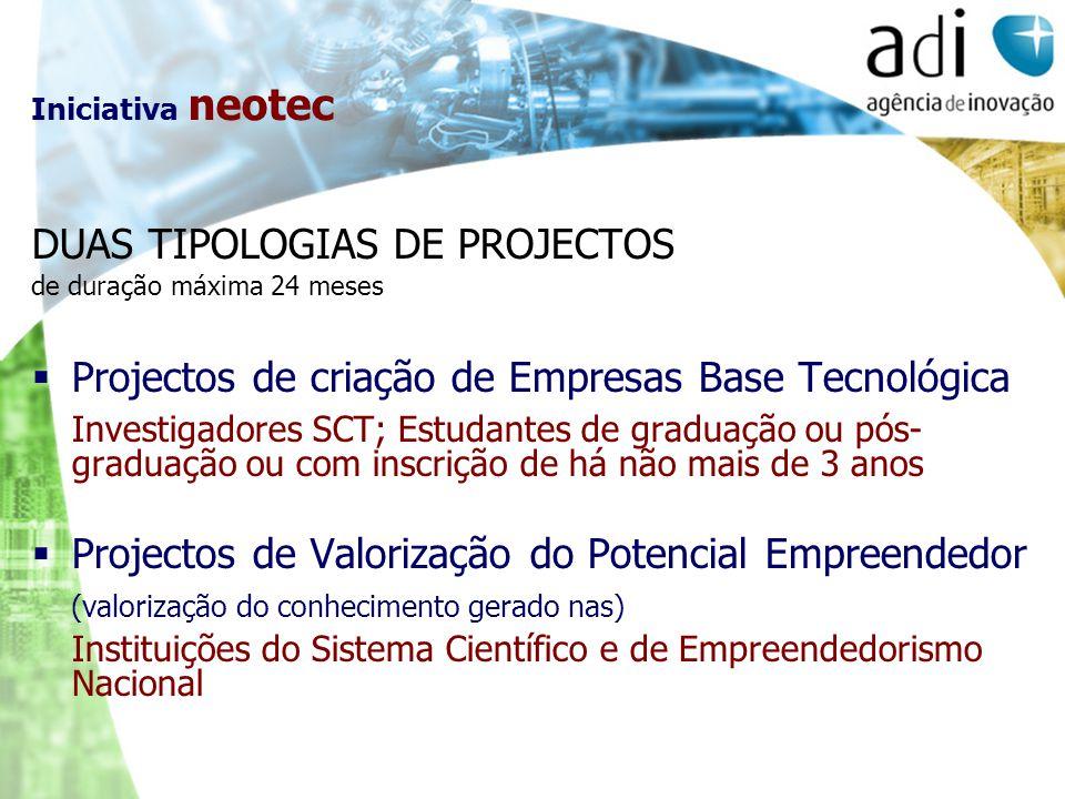 Iniciativa neotec DUAS TIPOLOGIAS DE PROJECTOS de duração máxima 24 meses Projectos de criação de Empresas Base Tecnológica Investigadores SCT; Estuda