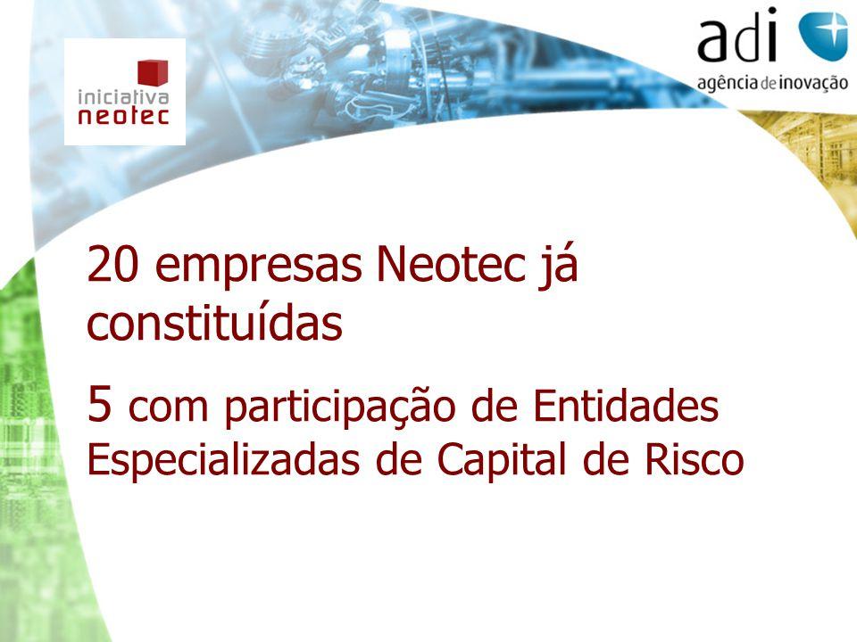 20 empresas Neotec já constituídas 5 com participação de Entidades Especializadas de Capital de Risco