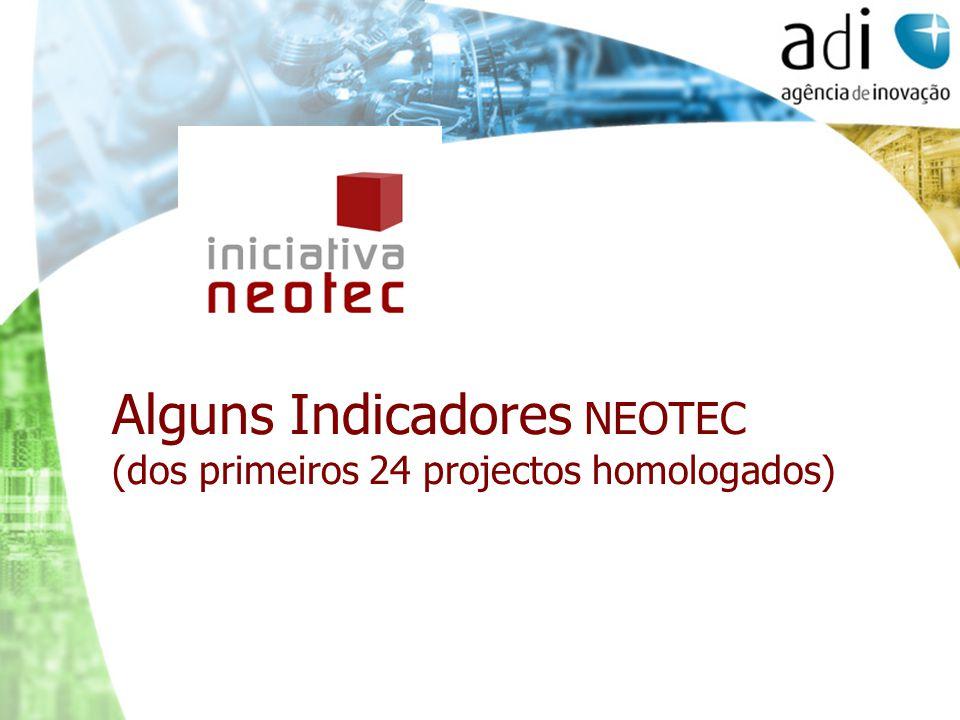 Alguns Indicadores NEOTEC (dos primeiros 24 projectos homologados)