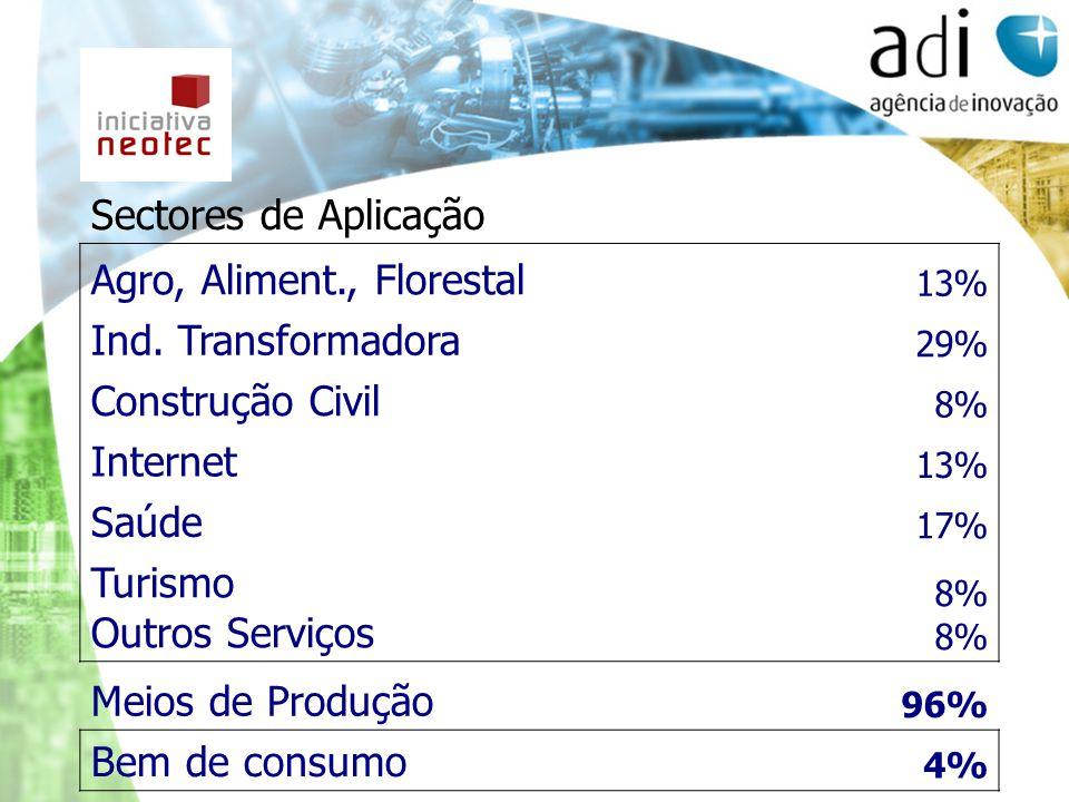 Sectores de Aplicação Agro, Aliment., Florestal 13% Ind. Transformadora 29% Construção Civil 8% Internet 13% Saúde 17% Turismo Outros Serviços 8% Meio