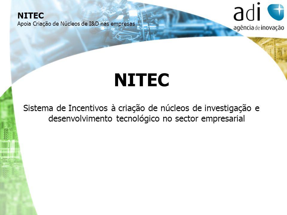 NITEC Apoia Criação de Núcleos de I&D nas empresas NITEC Sistema de Incentivos à criação de núcleos de investigação e desenvolvimento tecnológico no s