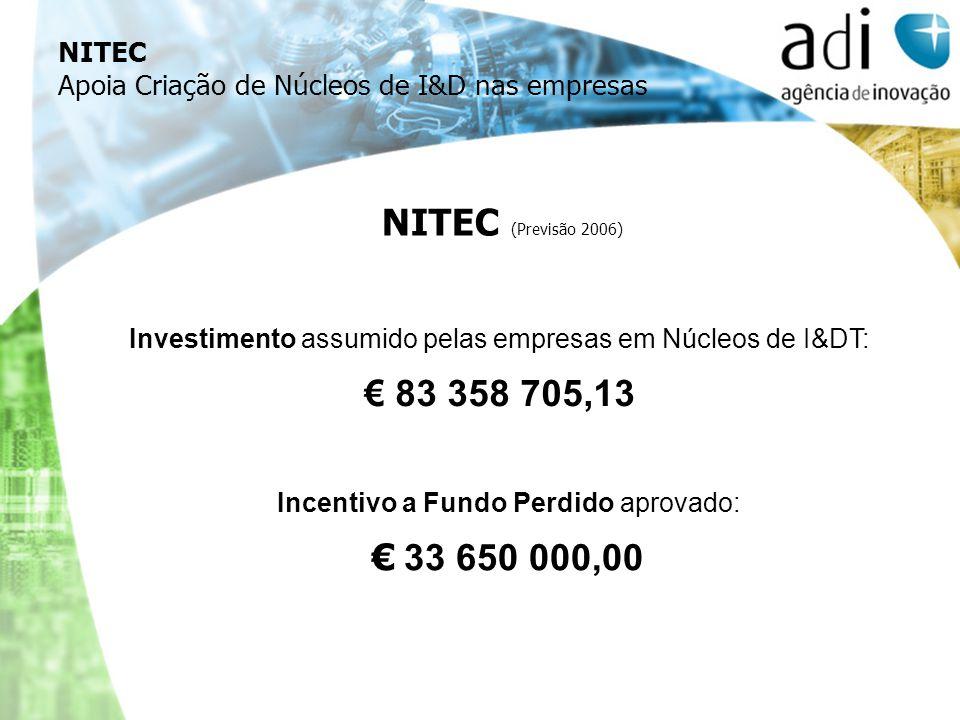 NITEC (Previsão 2006) Investimento assumido pelas empresas em Núcleos de I&DT: 83 358 705,13 Incentivo a Fundo Perdido aprovado: 33 650 000,00