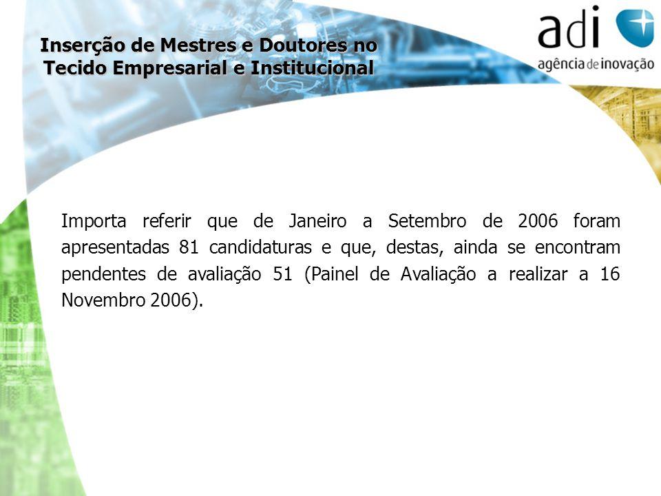 Importa referir que de Janeiro a Setembro de 2006 foram apresentadas 81 candidaturas e que, destas, ainda se encontram pendentes de avaliação 51 (Pain
