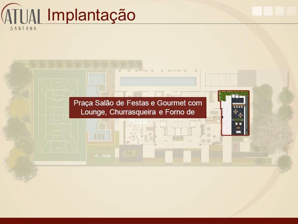 Implantação Praça Salão de Festas e Gourmet com Lounge, Churrasqueira e Forno de Pizza