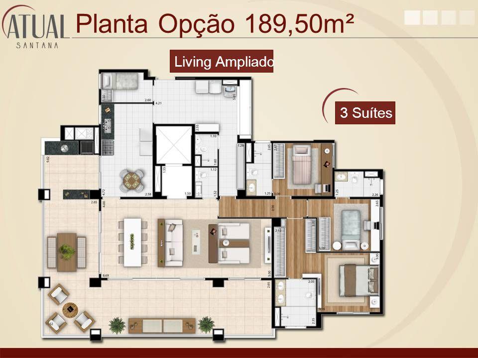 Planta Opção 189,50m² 3 Suítes Living Ampliado