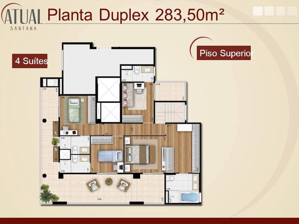 Planta Duplex 283,50m² Piso Superior 4 Suítes