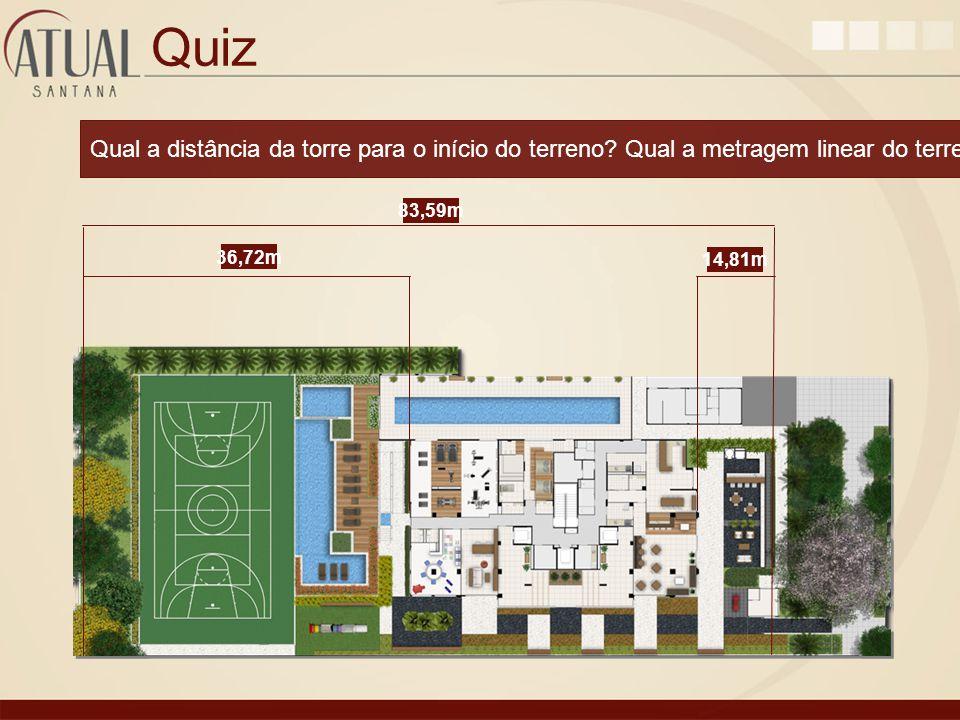 Quiz Qual a distância da torre para o início do terreno? Qual a metragem linear do terreno? 14,81m 36,72m 83,59m