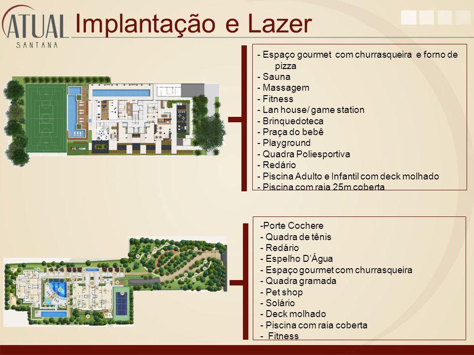 Implantação e Lazer -Porte Cochere - Quadra de tênis - Redário - Espelho DÁgua - Espaço gourmet com churrasqueira - Quadra gramada - Pet shop - Solári