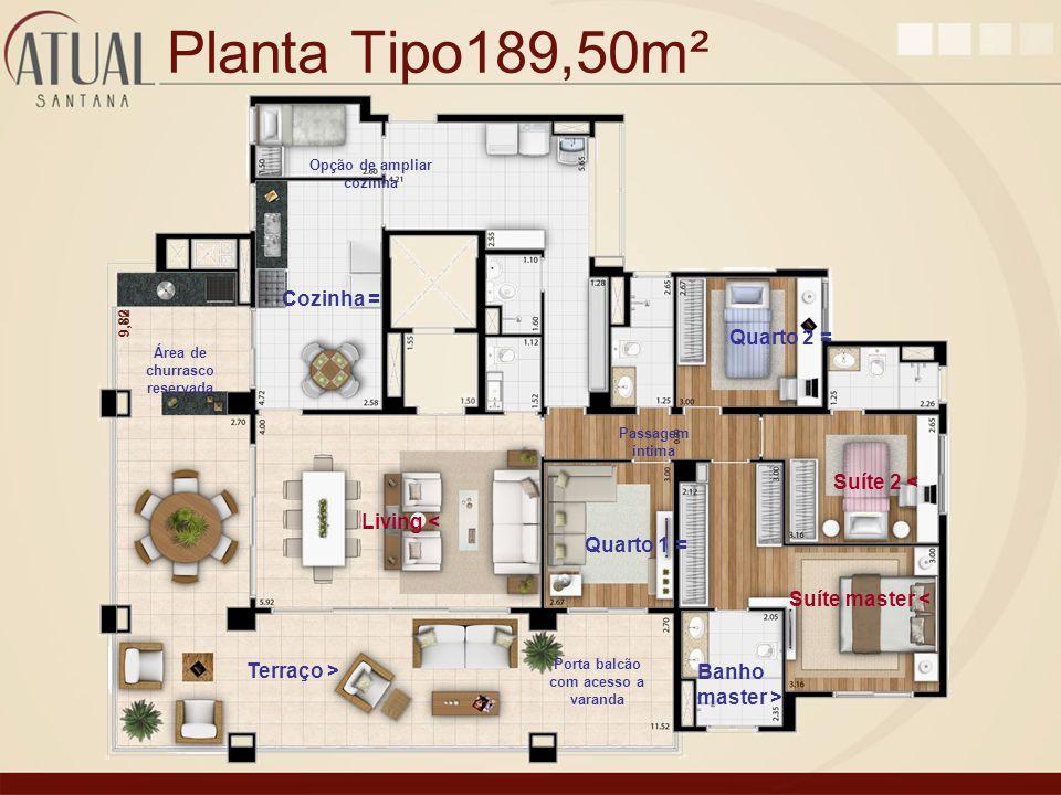 Planta Tipo189,50m² 9,82 Opção de ampliar cozinha Passagem íntima Porta balcão com acesso a varanda Área de churrasco reservada Living < Terraço > Suí