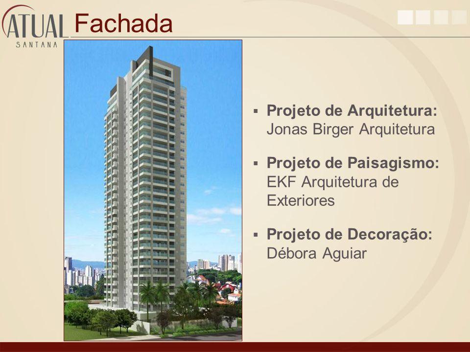 Fachada Projeto de Arquitetura: Jonas Birger Arquitetura Projeto de Paisagismo: EKF Arquitetura de Exteriores Projeto de Decoração: Débora Aguiar
