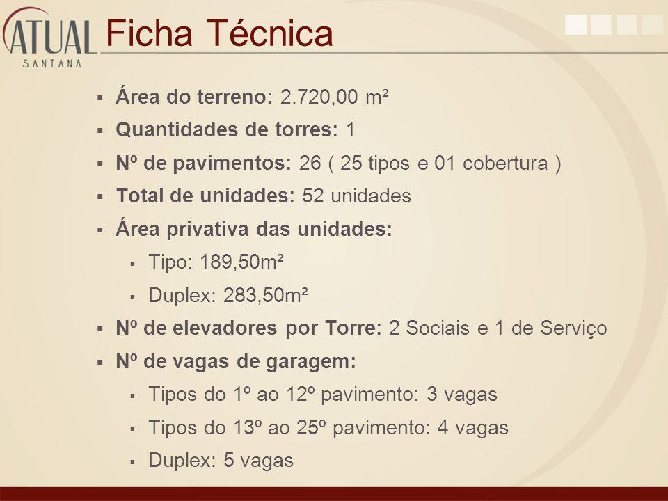 Ficha Técnica Área do terreno: 2.720,00 m² Quantidades de torres: 1 Nº de pavimentos: 26 ( 25 tipos e 01 cobertura ) Total de unidades: 52 unidades Ár