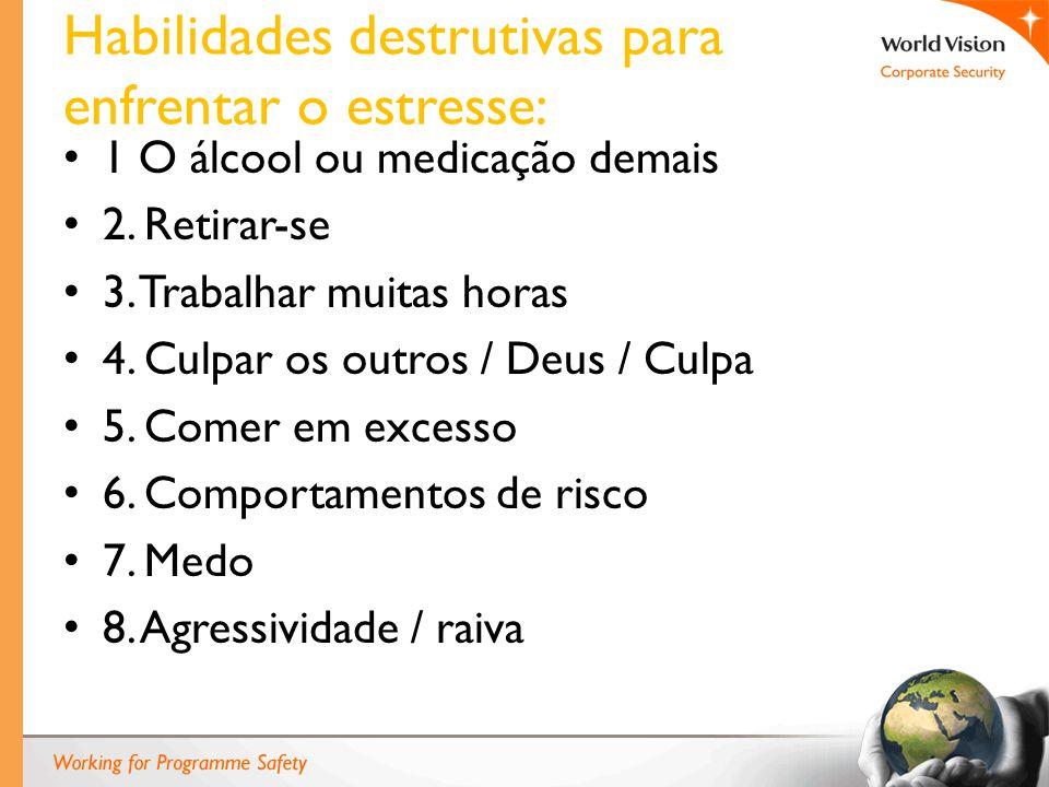 Habilidades destrutivas para enfrentar o estresse: 1 O álcool ou medicação demais 2.