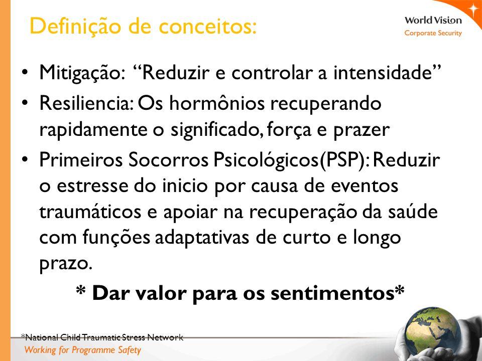 Mitigação: Reduzir e controlar a intensidade Resiliencia: Os hormônios recuperando rapidamente o significado, força e prazer Primeiros Socorros Psicol