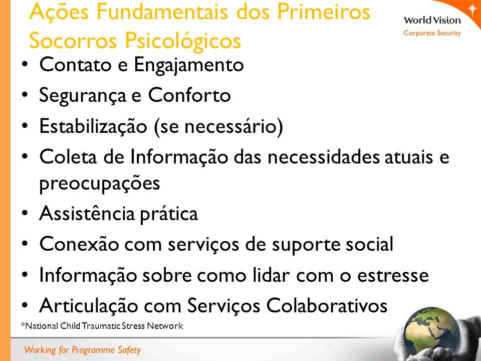 Ações Fundamentais dos Primeiros Socorros Psicológicos Contato e Engajamento Segurança e Conforto Estabilização (se necessário) Coleta de Informação d