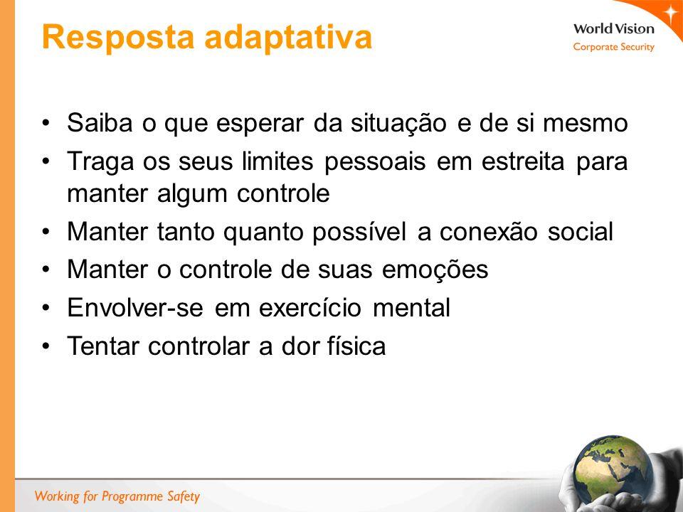 Resposta adaptativa Saiba o que esperar da situação e de si mesmo Traga os seus limites pessoais em estreita para manter algum controle Manter tanto quanto possível a conexão social Manter o controle de suas emoções Envolver-se em exercício mental Tentar controlar a dor física