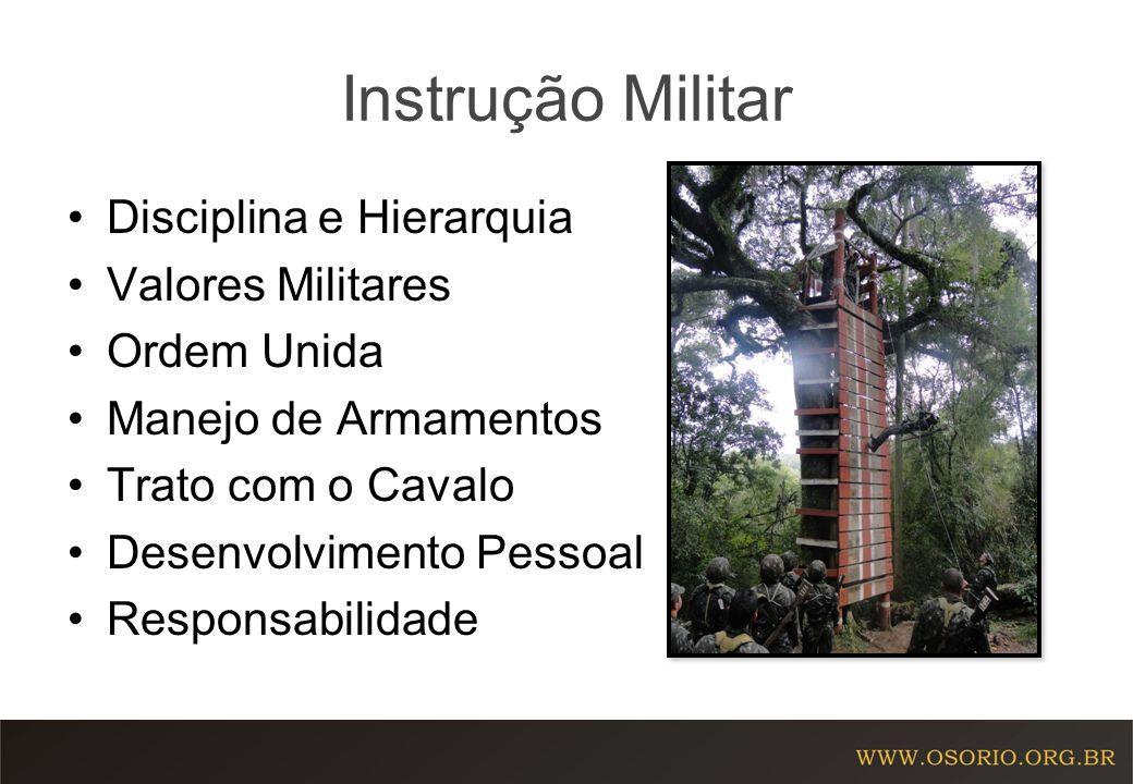 Instrução Militar Disciplina e Hierarquia Valores Militares Ordem Unida Manejo de Armamentos Trato com o Cavalo Desenvolvimento Pessoal Responsabilida