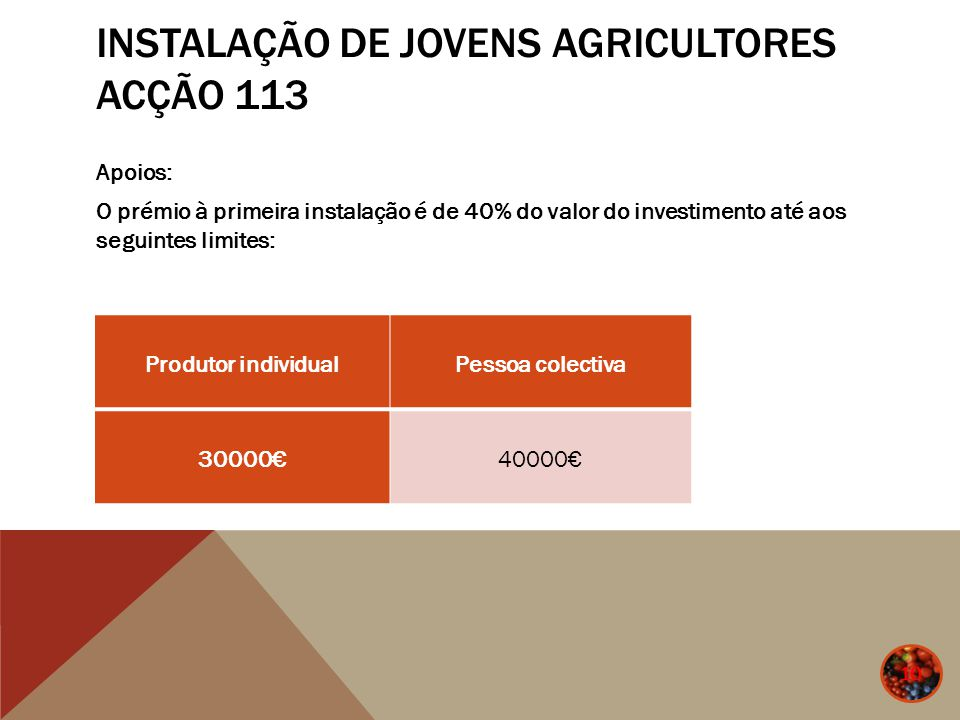 INSTALAÇÃO DE JOVENS AGRICULTORES ACÇÃO 113 Apoios: O prémio à primeira instalação é de 40% do valor do investimento até aos seguintes limites: 10 Pro