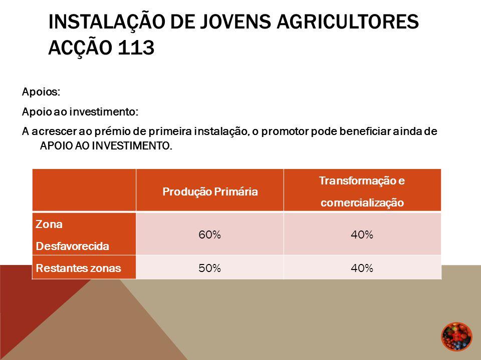 INSTALAÇÃO DE JOVENS AGRICULTORES ACÇÃO 113 Apoios: Apoio ao investimento: A acrescer ao prémio de primeira instalação, o promotor pode beneficiar ain