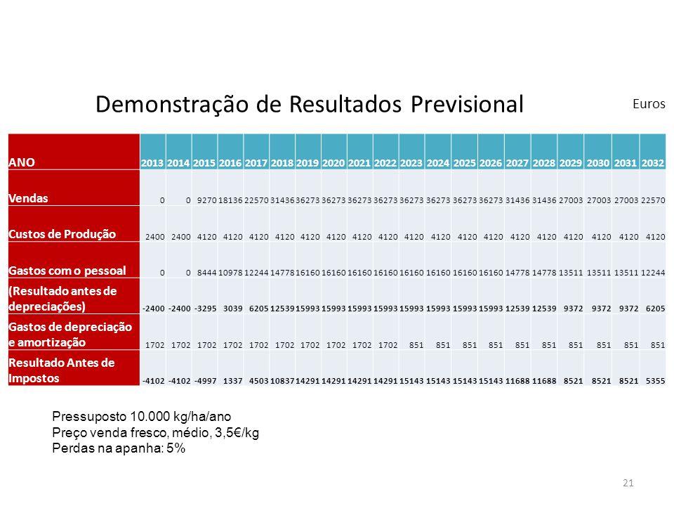 21 Pressuposto 10.000 kg/ha/ano Preço venda fresco, médio, 3,5/kg Perdas na apanha: 5% Demonstração de Resultados Previsional Euros ANO 20132014201520
