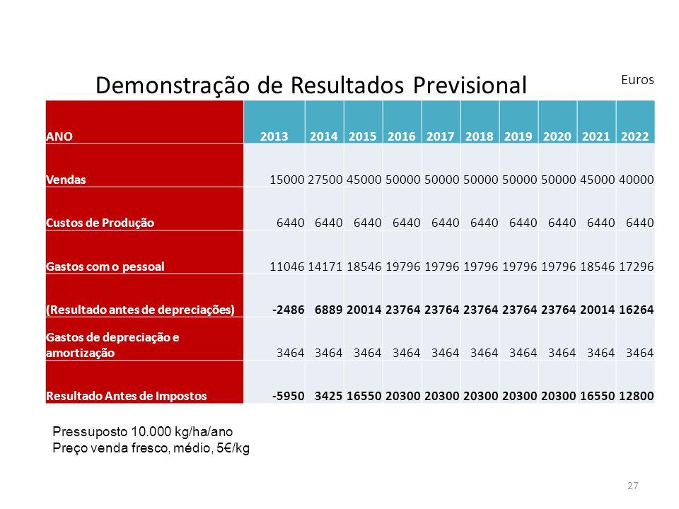 27 Demonstração de Resultados Previsional Euros ANO2013201420152016201720182019202020212022 Vendas15000275004500050000 4500040000 Custos de Produção64