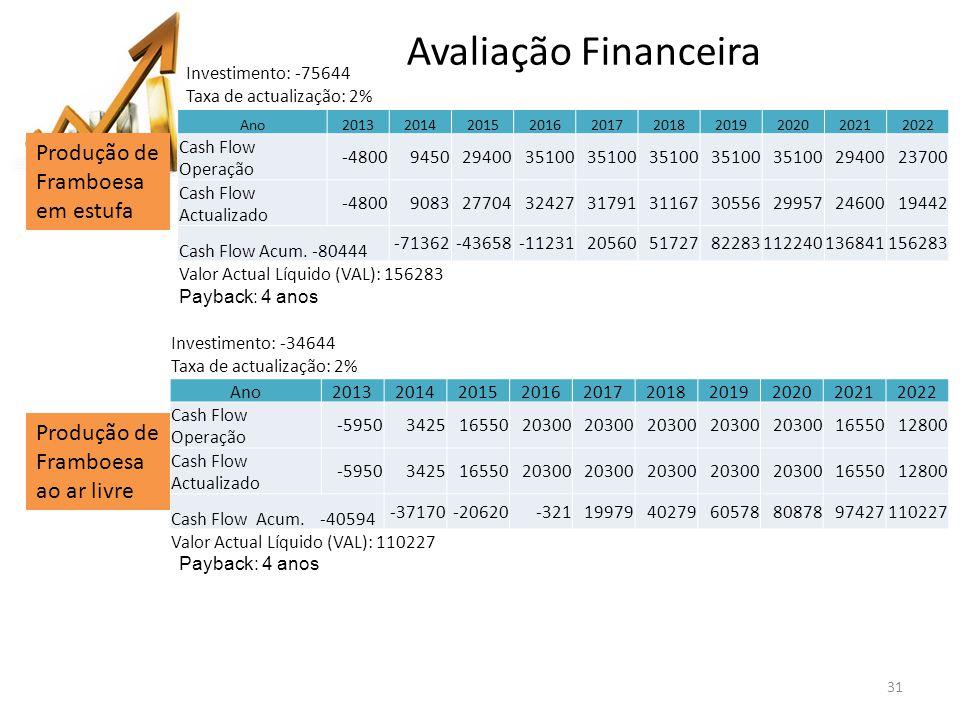 31 Ano2013201420152016201720182019202020212022 Cash Flow Operação -480094502940035100 2940023700 Cash Flow Actualizado -480090832770432427317913116730