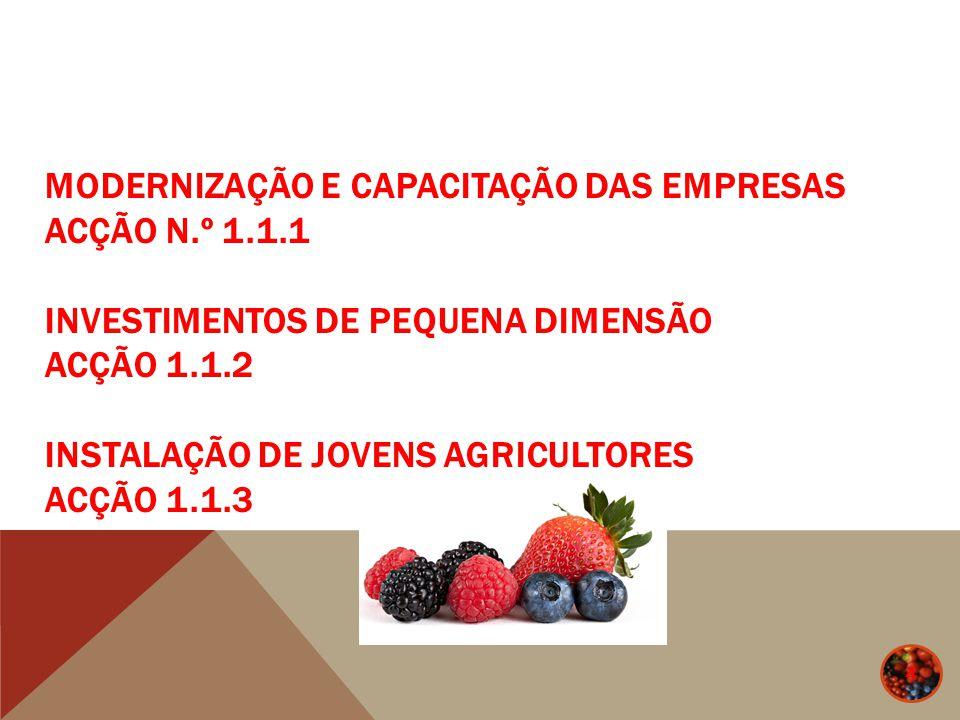MODERNIZAÇÃO E CAPACITAÇÃO DAS EMPRESAS - ACÇÃO N.º 1.1.1 15 Apoios (Componente 1): Majorações cumuláveis Nível Base do apoio Zona Desfavorecida Jovem Agricultor Associado OP 30%10% 5% 15