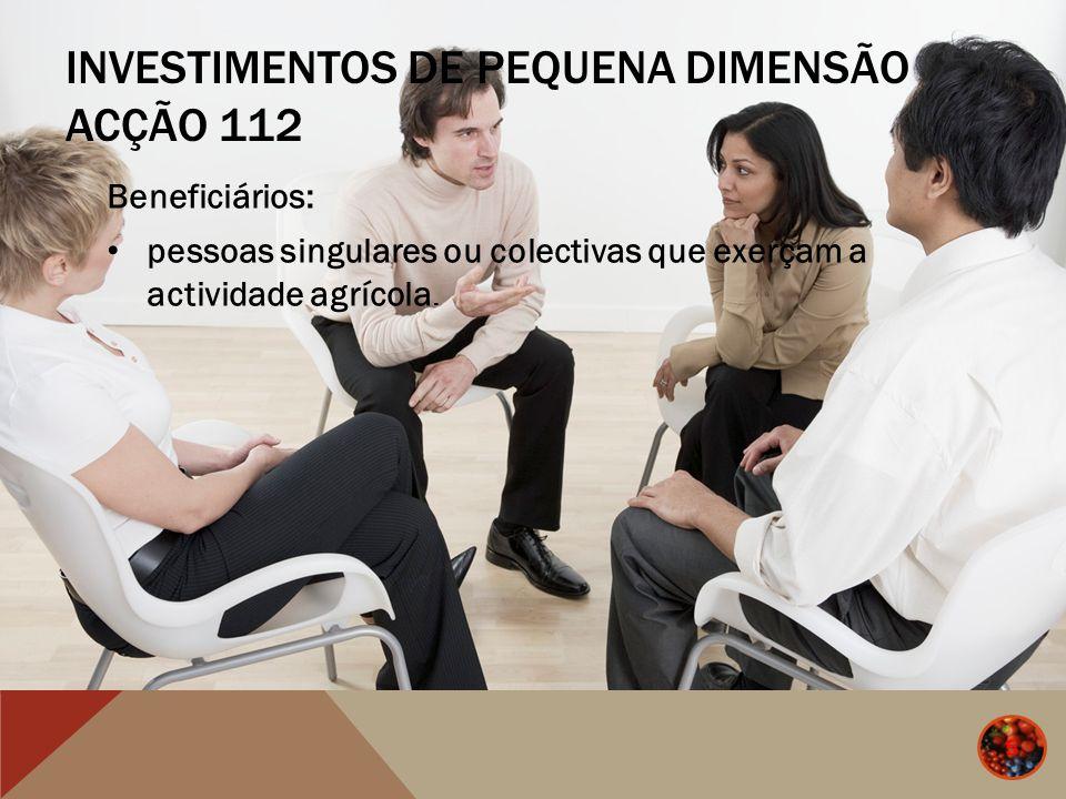 INVESTIMENTOS DE PEQUENA DIMENSÃO ACÇÃO 112 Beneficiários: pessoas singulares ou colectivas que exerçam a actividade agrícola. 5 5
