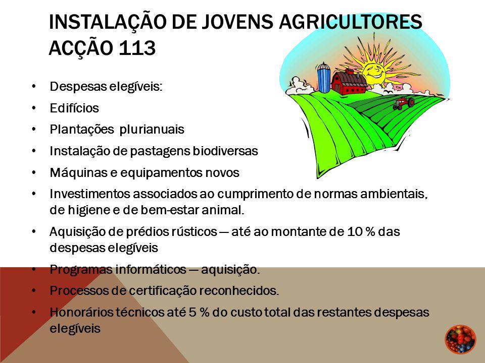 INSTALAÇÃO DE JOVENS AGRICULTORES ACÇÃO 113 Despesas elegíveis: Edifícios Plantações plurianuais Instalação de pastagens biodiversas Máquinas e equipa