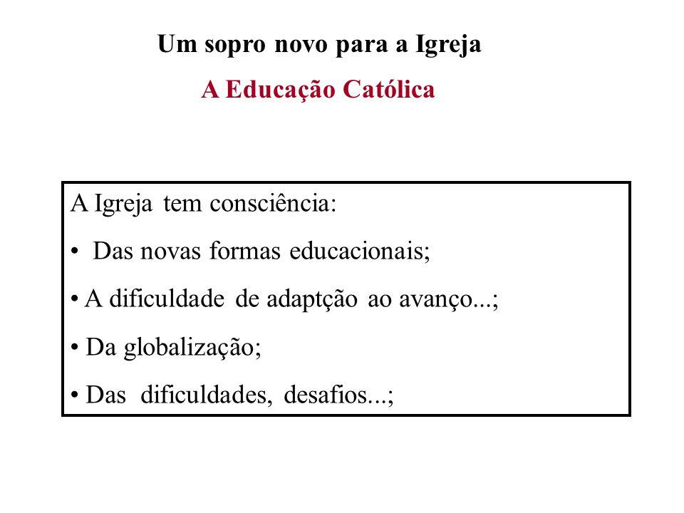 Um sopro novo para a Igreja A Educação Católica A Igreja tem consciência: Das novas formas educacionais; A dificuldade de adaptção ao avanço...; Da gl