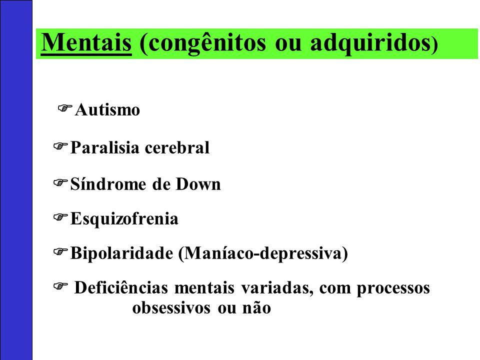 Autismo Paralisia cerebral Síndrome de Down Esquizofrenia Bipolaridade (Maníaco-depressiva) Deficiências mentais variadas, com processos obsessivos ou