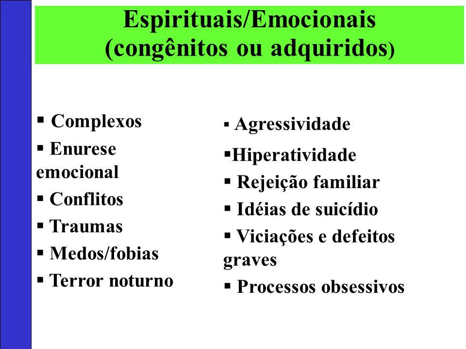 Complexos Enurese emocional Conflitos Traumas Medos/fobias Terror noturno Agressividade Hiperatividade Rejeição familiar Idéias de suicídio Viciações