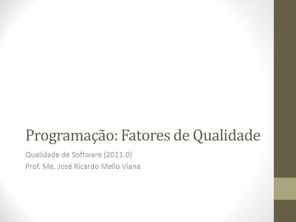 Programação: Fatores de Qualidade Qualidade de Software (2011.0) Prof. Me. José Ricardo Mello Viana