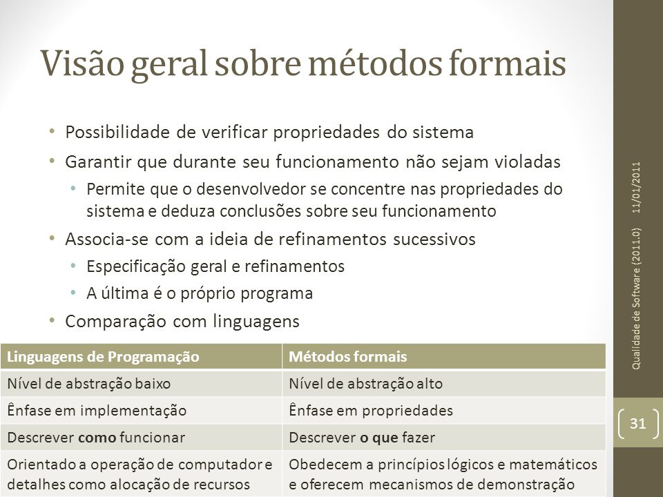 Visão geral sobre métodos formais Possibilidade de verificar propriedades do sistema Garantir que durante seu funcionamento não sejam violadas Permite