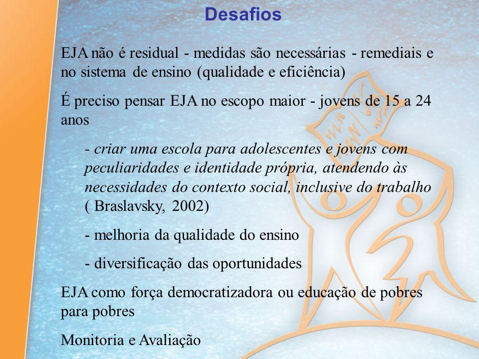 Desafios EJA não é residual - medidas são necessárias - remediais e no sistema de ensino (qualidade e eficiência) É preciso pensar EJA no escopo maior