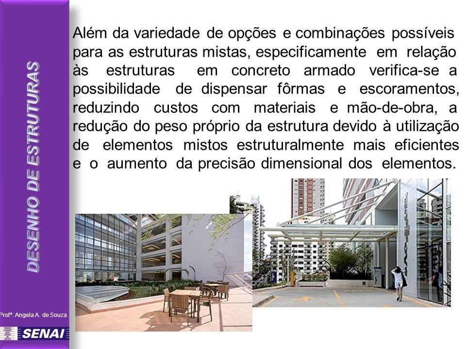 Além da variedade de opções e combinações possíveis para as estruturas mistas, especificamente em relação às estruturas em concreto armado verifica-se