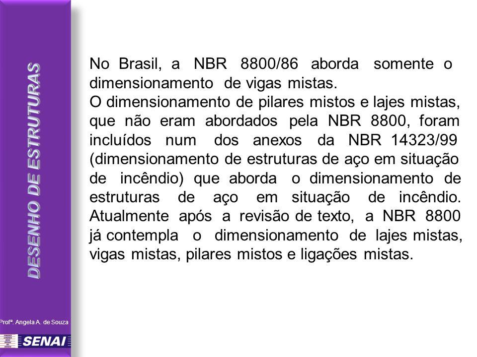 No Brasil, a NBR 8800/86 aborda somente o dimensionamento de vigas mistas.