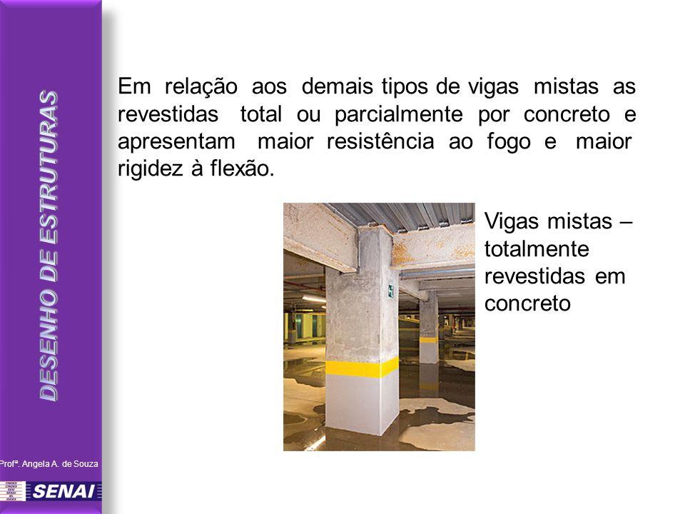 Em relação aos demais tipos de vigas mistas as revestidas total ou parcialmente por concreto e apresentam maior resistência ao fogo e maior rigidez à