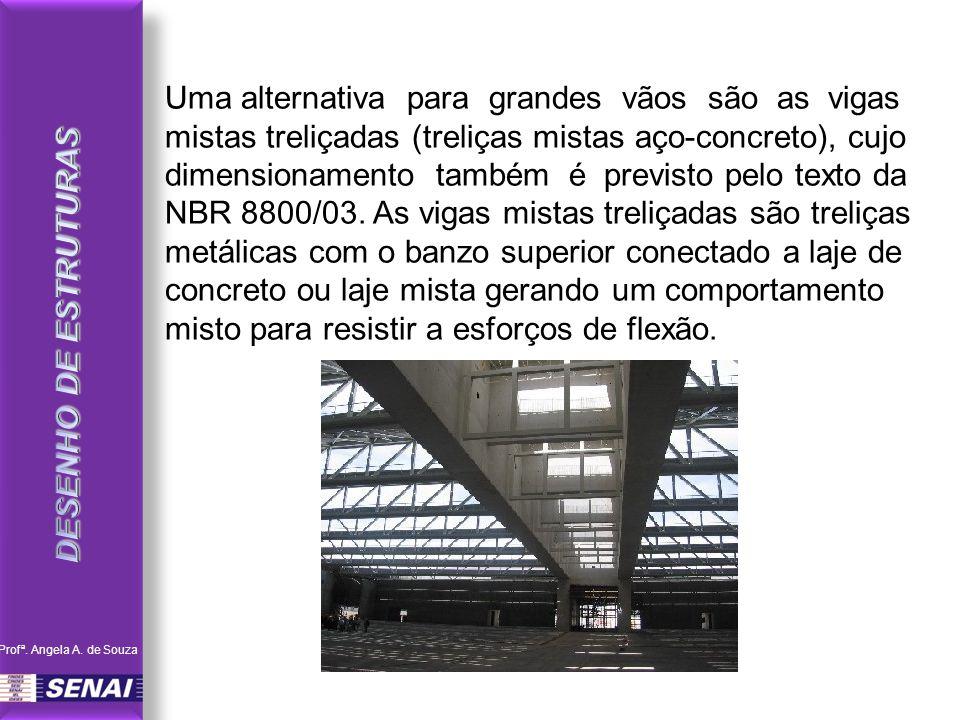Uma alternativa para grandes vãos são as vigas mistas treliçadas (treliças mistas aço-concreto), cujo dimensionamento também é previsto pelo texto da NBR 8800/03.