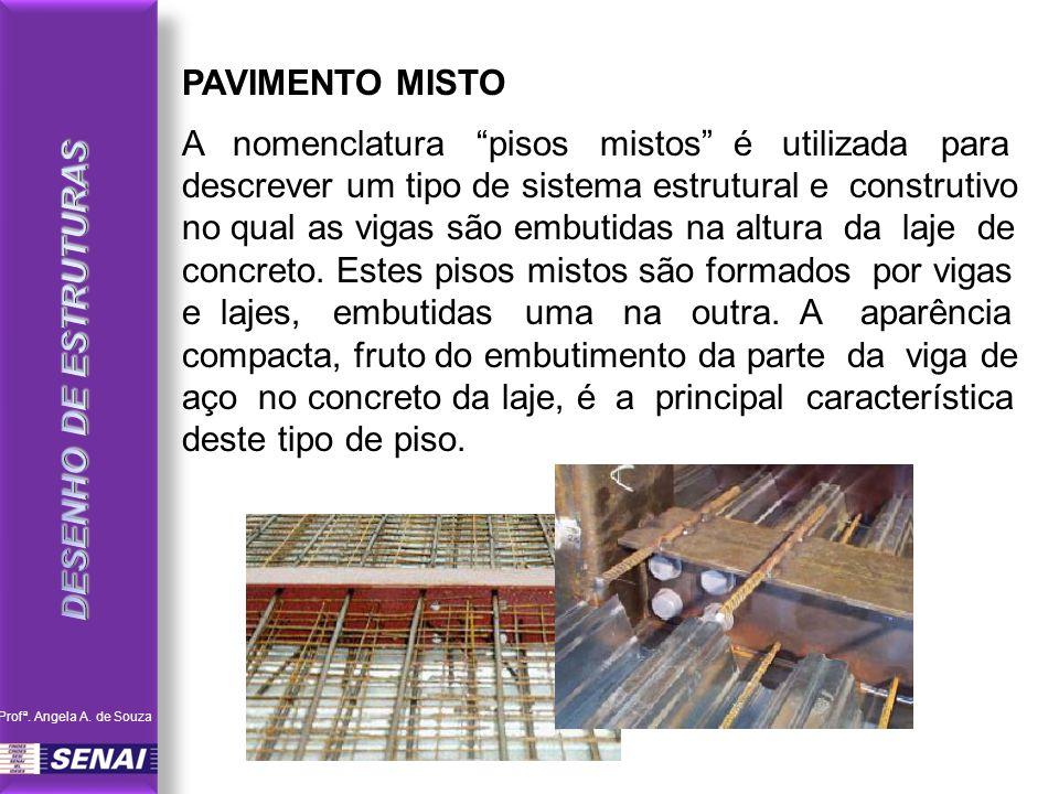 PAVIMENTO MISTO A nomenclatura pisos mistos é utilizada para descrever um tipo de sistema estrutural e construtivo no qual as vigas são embutidas na a