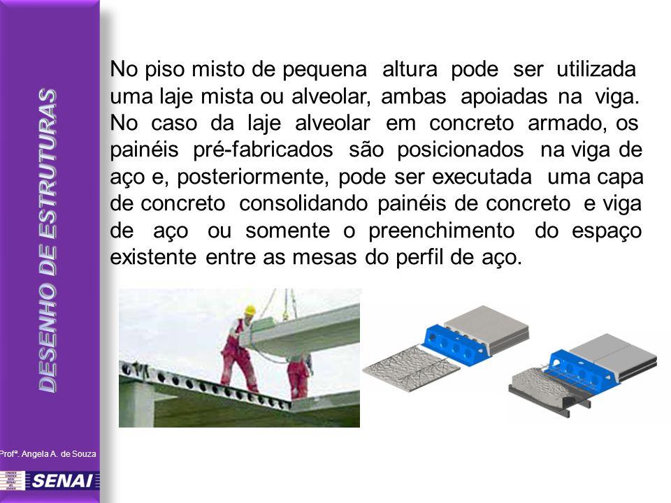 No piso misto de pequena altura pode ser utilizada uma laje mista ou alveolar, ambas apoiadas na viga. No caso da laje alveolar em concreto armado, os