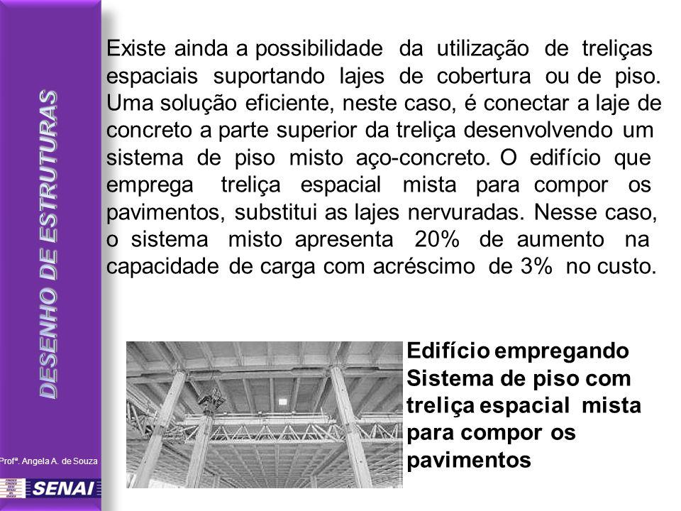 Existe ainda a possibilidade da utilização de treliças espaciais suportando lajes de cobertura ou de piso. Uma solução eficiente, neste caso, é conect