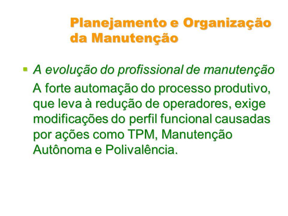 Planejamento e Organização da Manutenção A evolução do profissional de manutenção A evolução do profissional de manutenção A forte automação do proces