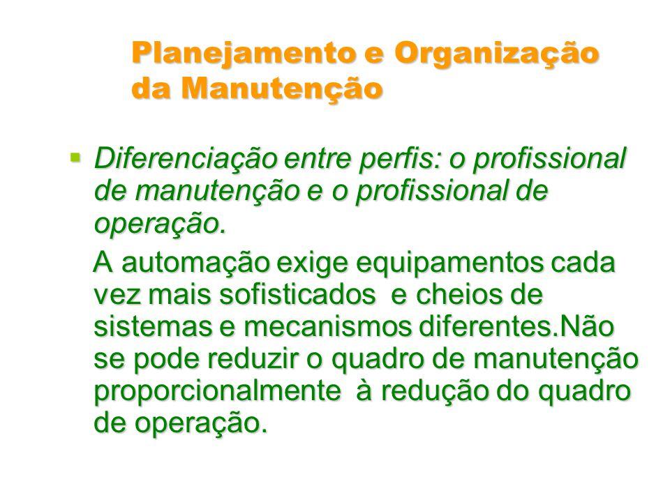 Planejamento e Organização da Manutenção Diferenciação entre perfis: o profissional de manutenção e o profissional de operação. Diferenciação entre pe