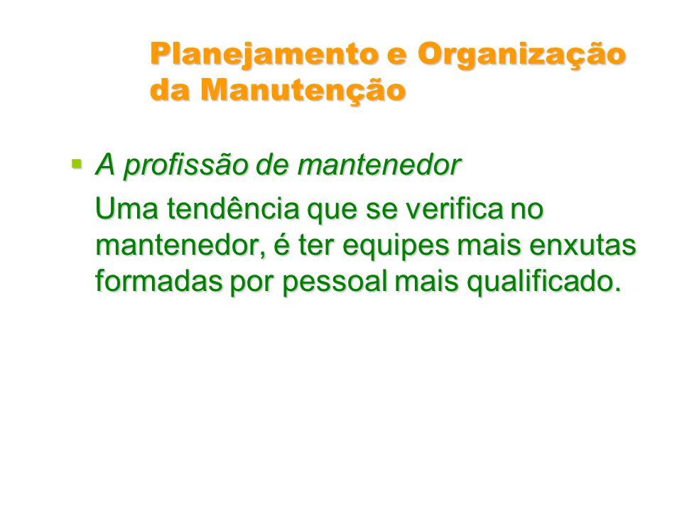 Planejamento e Organização da Manutenção A profissão de mantenedor A profissão de mantenedor Uma tendência que se verifica no mantenedor, é ter equipe