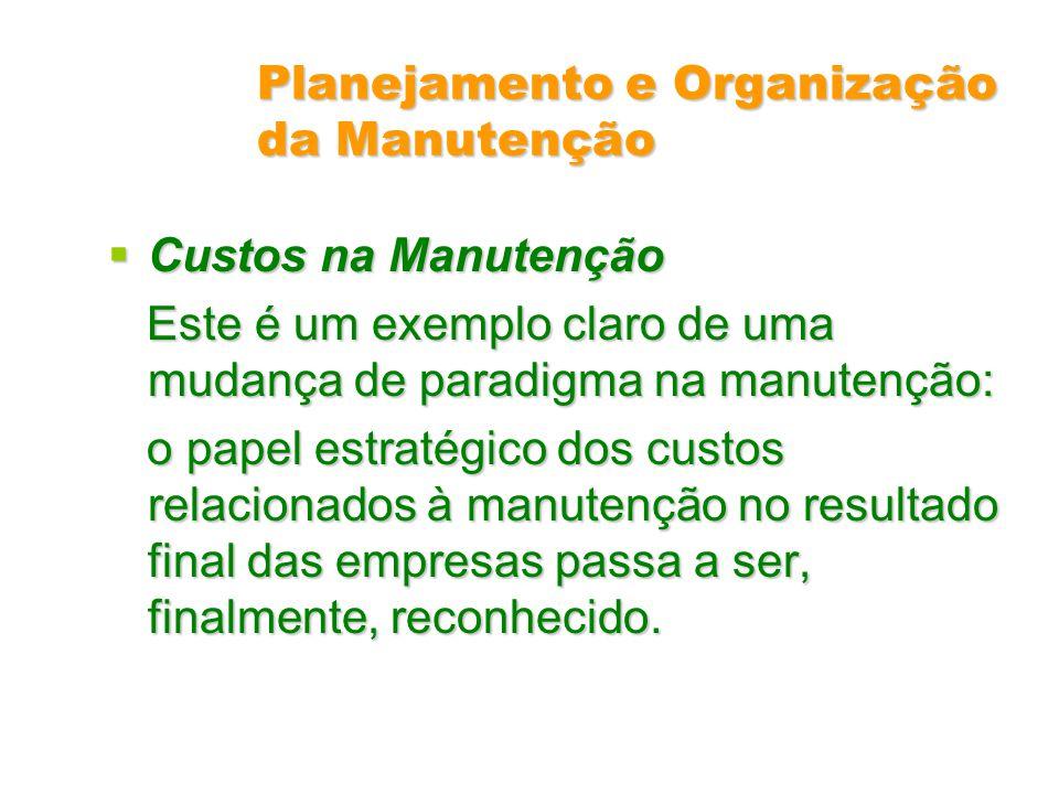 Planejamento e Organização da Manutenção Custos na Manutenção Custos na Manutenção Este é um exemplo claro de uma mudança de paradigma na manutenção: