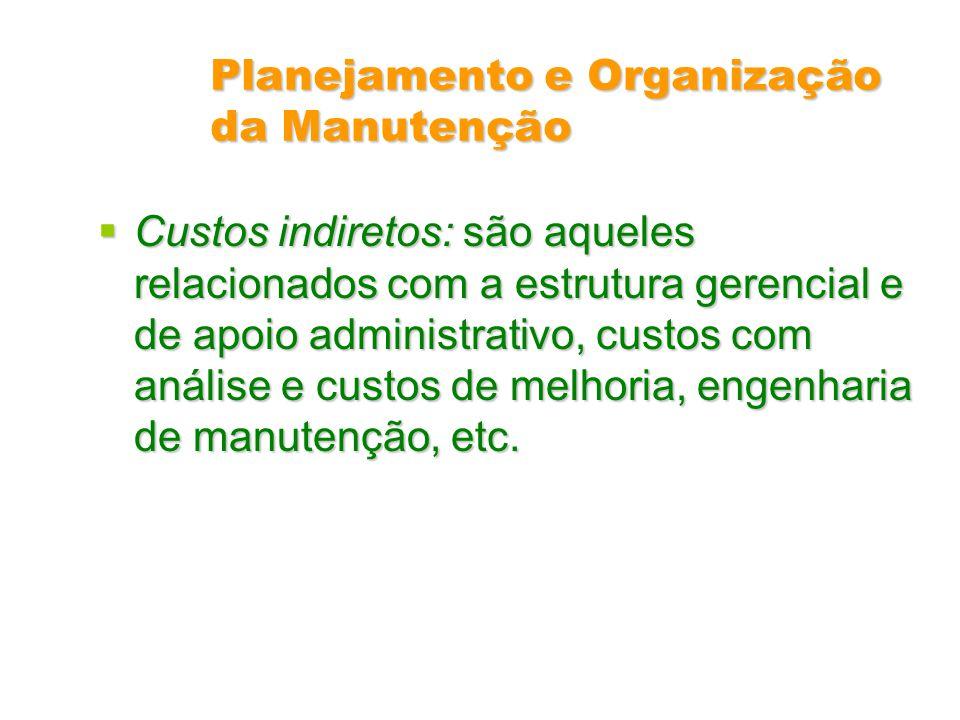 Planejamento e Organização da Manutenção Custos indiretos: são aqueles relacionados com a estrutura gerencial e de apoio administrativo, custos com an