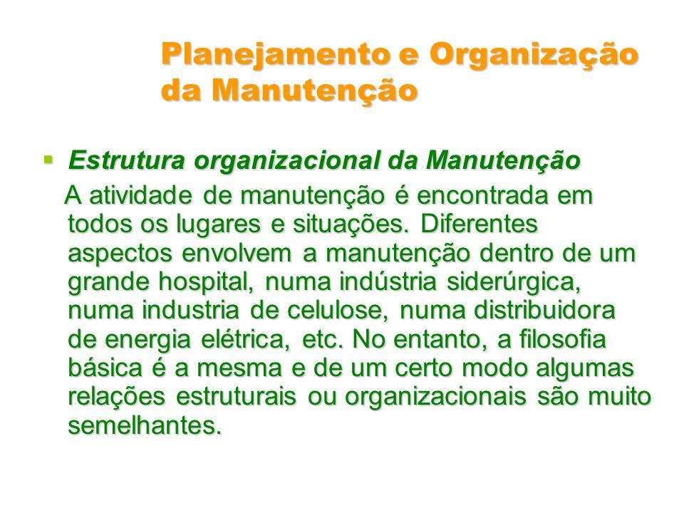Planejamento e Organização da Manutenção Estrutura organizacional da Manutenção Estrutura organizacional da Manutenção A atividade de manutenção é enc