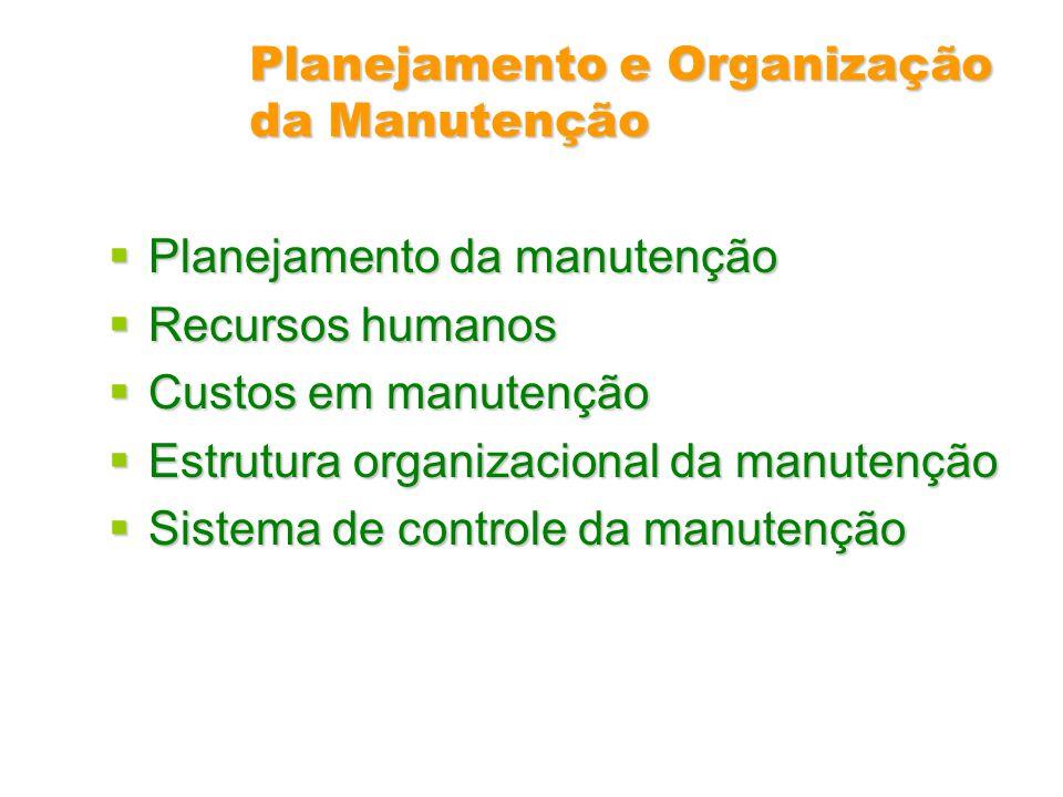 Planejamento e Organização da Manutenção Planejamento da manutenção Planejamento da manutenção Recursos humanos Recursos humanos Custos em manutenção