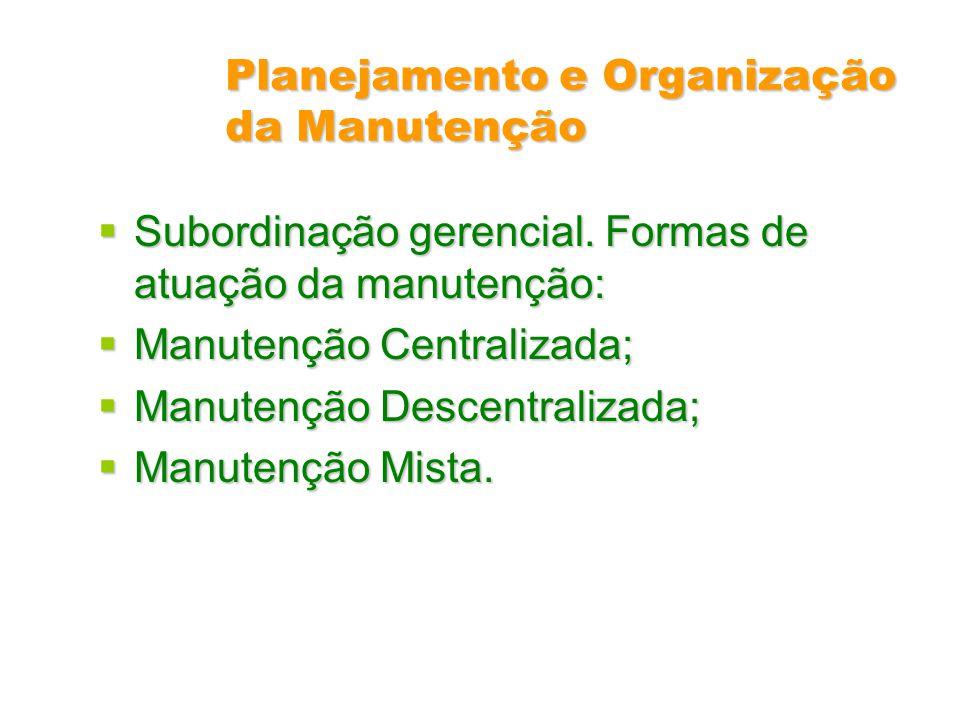 Planejamento e Organização da Manutenção Subordinação gerencial. Formas de atuação da manutenção: Subordinação gerencial. Formas de atuação da manuten