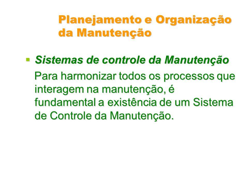 Planejamento e Organização da Manutenção Sistemas de controle da Manutenção Sistemas de controle da Manutenção Para harmonizar todos os processos que